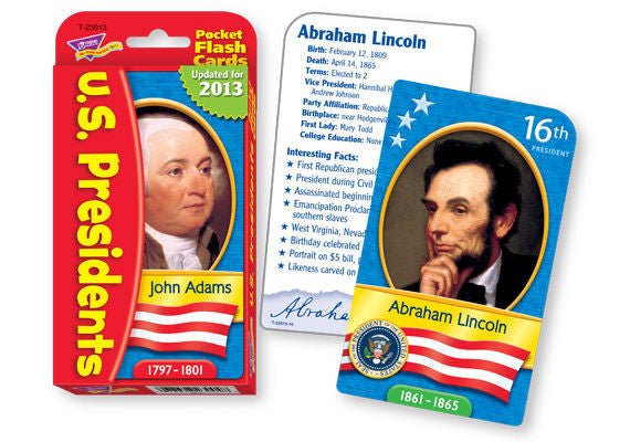 U.S. Presidents Pocket Flash Cards - EducationalLearningGames.com