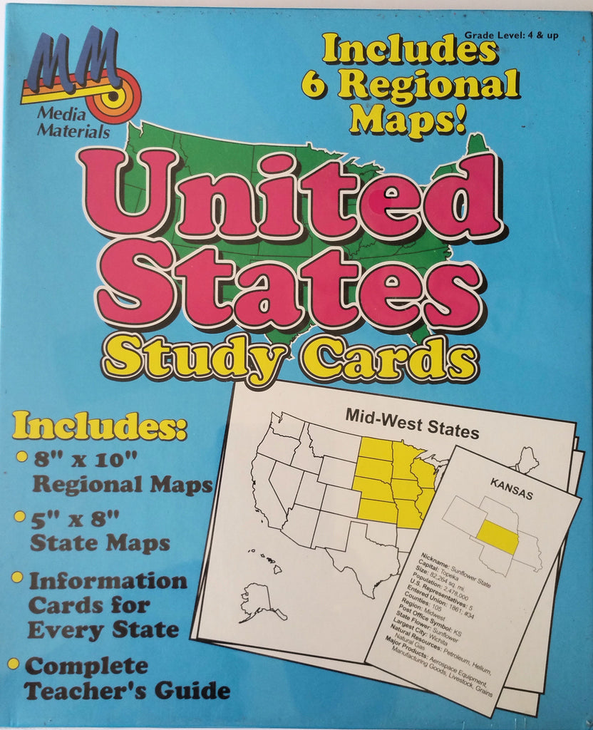 United States Study Cards, 6 Regional Maps - EducationalLearningGames.com