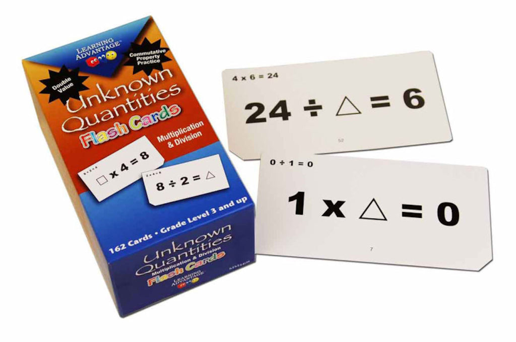 Unknown Quantities Flash Cards Multiplication and Division - EducationalLearningGames.com
