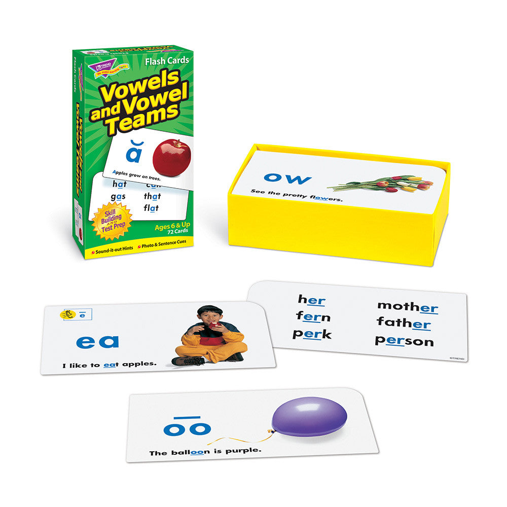 Vowels and Vowel Teams Skill Drill Flash Cards EducationalLearningGames.com