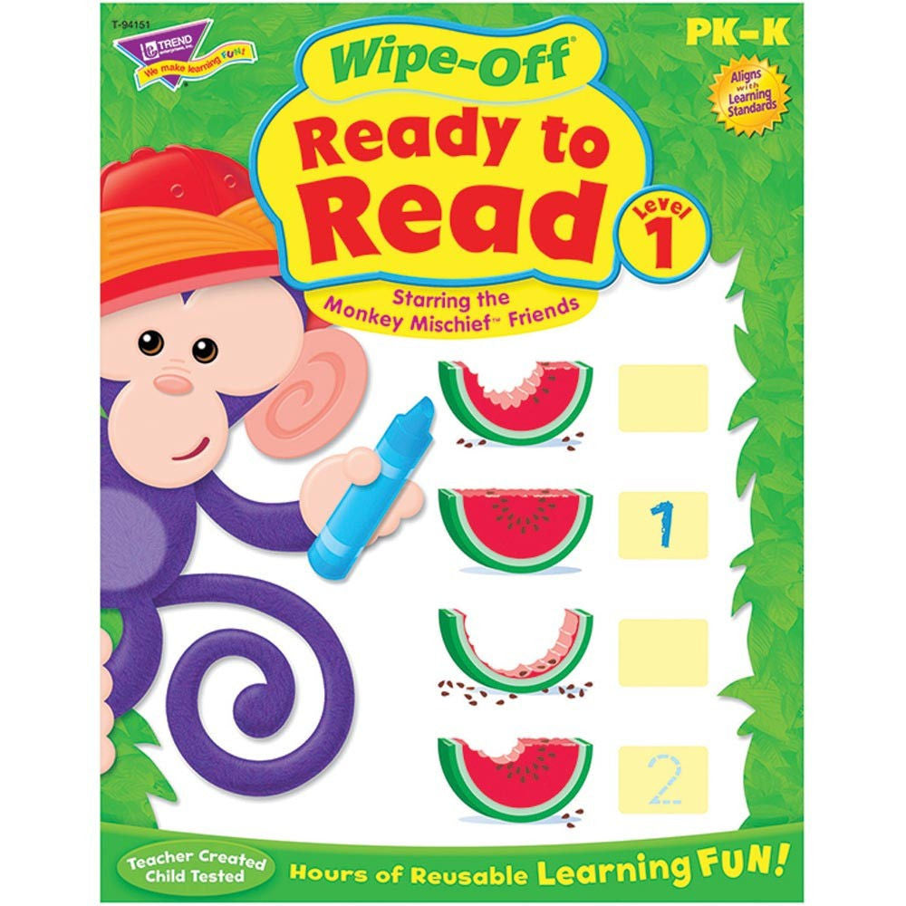 Wipe-Off Ready to Read Level 1 Monkey Mischief Workbook for Kids - EducationalLearningGames.com