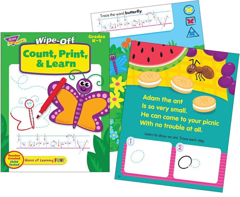 Wipe-off Count, Print, and Learn Workbook for Kids - EducationalLearningGames.com