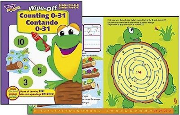Wipe Off Counting 0-31 Contando 0-31 Workbook for Kids