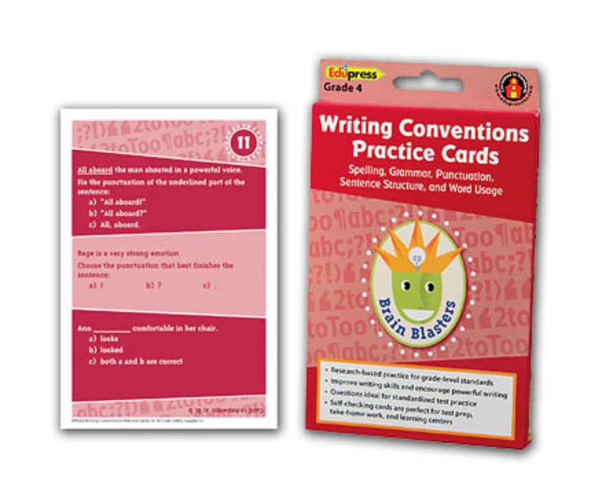 Writing Conventions Practice Cards, Grade 4
