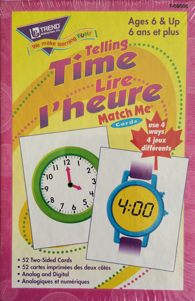 Telling Time Lire I'heure Match Me Cards in French EducationalLearningGames.com