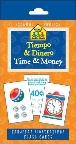 Tiempo & Dinero Time & Money Flash Cards - EducationalLearningGames.com