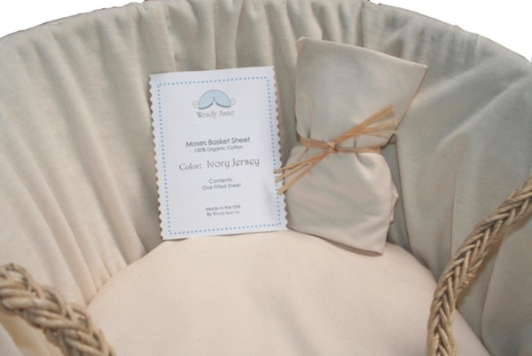 IVORY JERSEY FITTED ORGANIC SHEET FOR MOSES BASKET