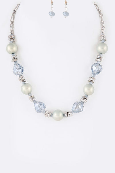 Pearl & Crystal Necklace Set