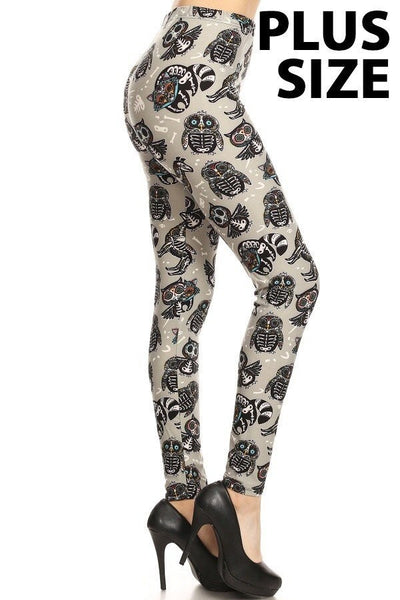Plus Size Brushed Skeleton Print Leggings