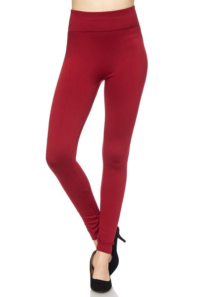 Fleece Lined Leggings - Cranberry