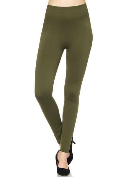 Fleece Lined Leggings - Olive