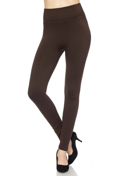Fleece Lined Leggings - Brown