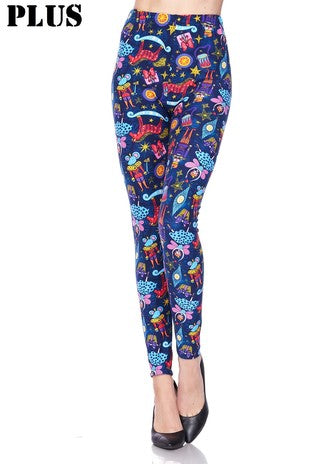 Plus Size Nutcracker Print Leggings