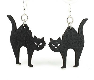 Halloween Black Cat Wood Earrings