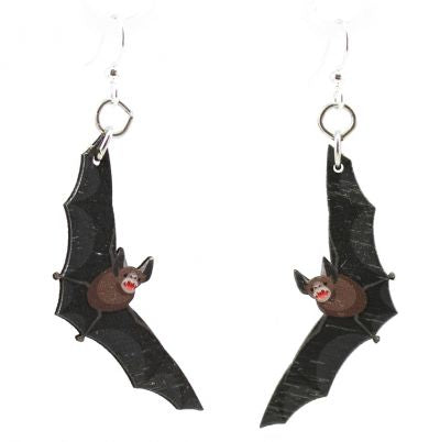 Spooky Bat Wood Earrings