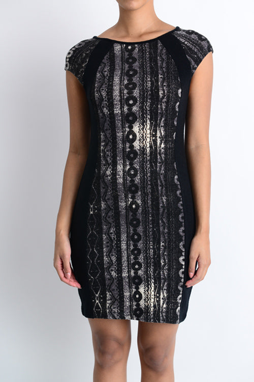 Printed Cap Sleeve Knit Dress