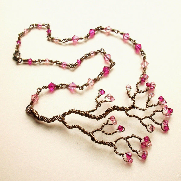 Branch Necklace w/Swarovski Crystals
