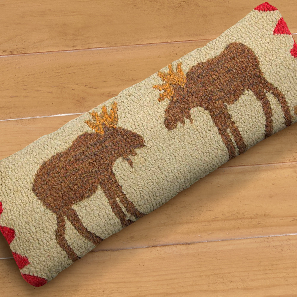 "Chandler 4 Corners 8"" x 24"" Hooked Pillow, Beige Moose"