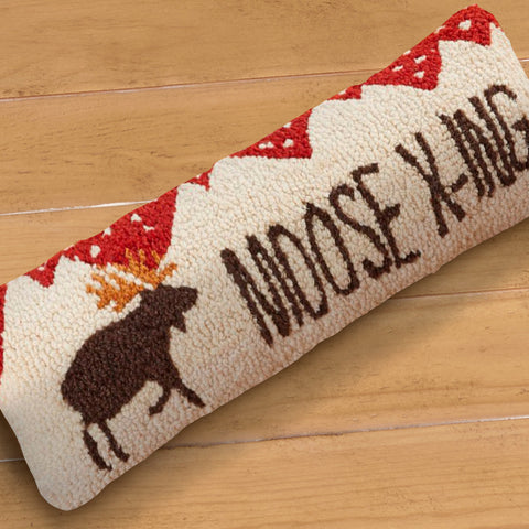 "Chandler 4 Corners 8"" x 24"" Hooked Pillow, Moose Crossing"