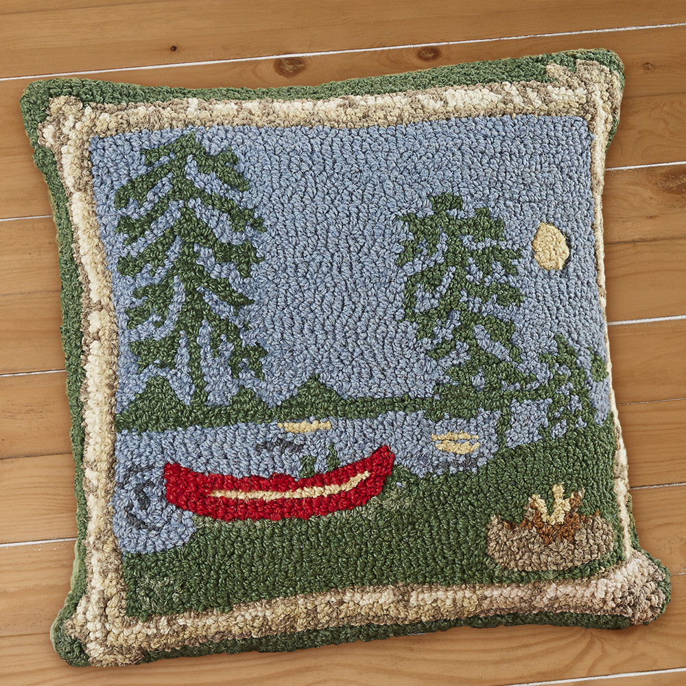 "Chandler 4 Corners 18"" Hooked Pillow, Campfire"