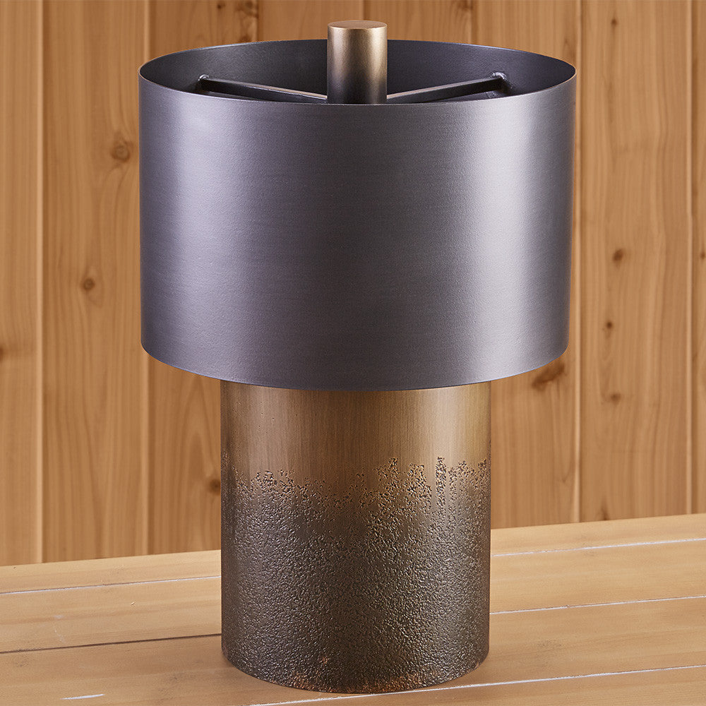 Bronze Drum Lamp with Metal Shade
