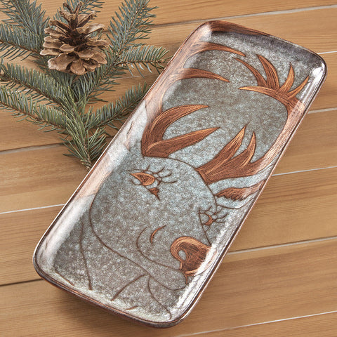 Etched Reindeer Tray