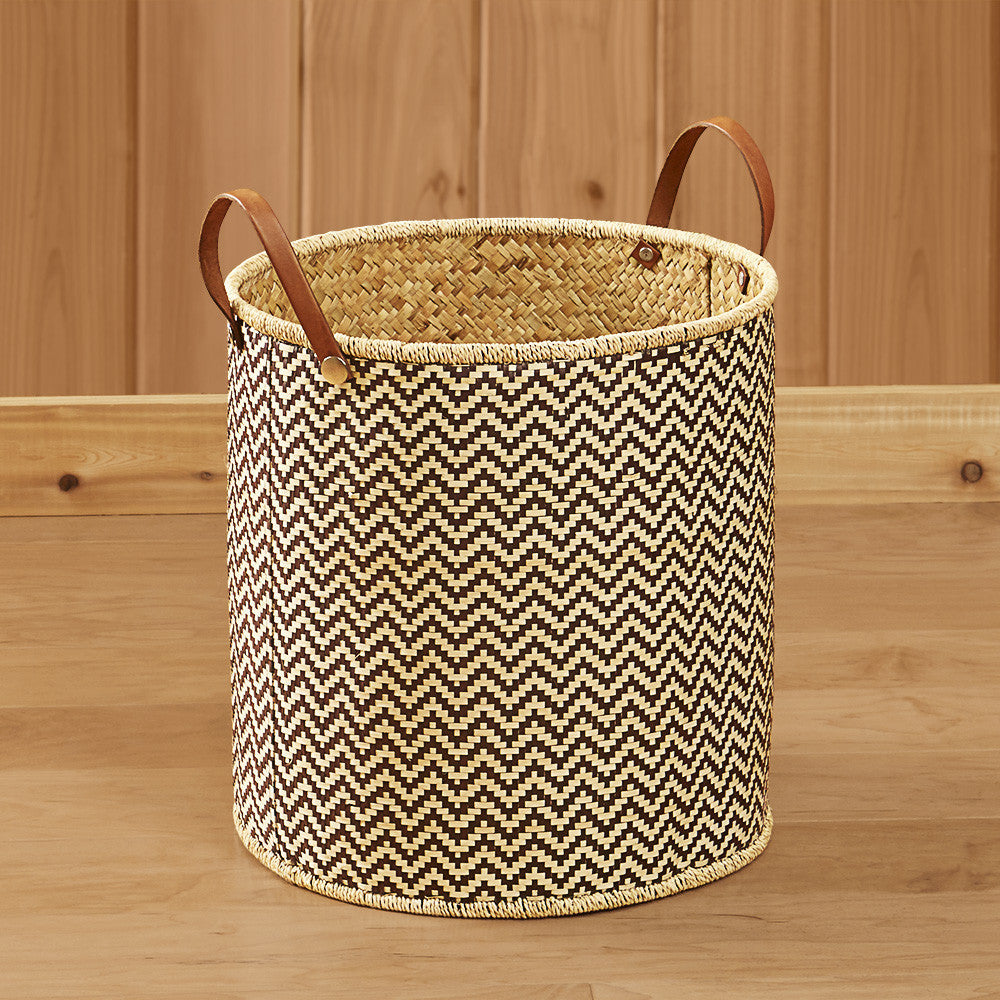 Woven Palm Leaf Laundry Basket