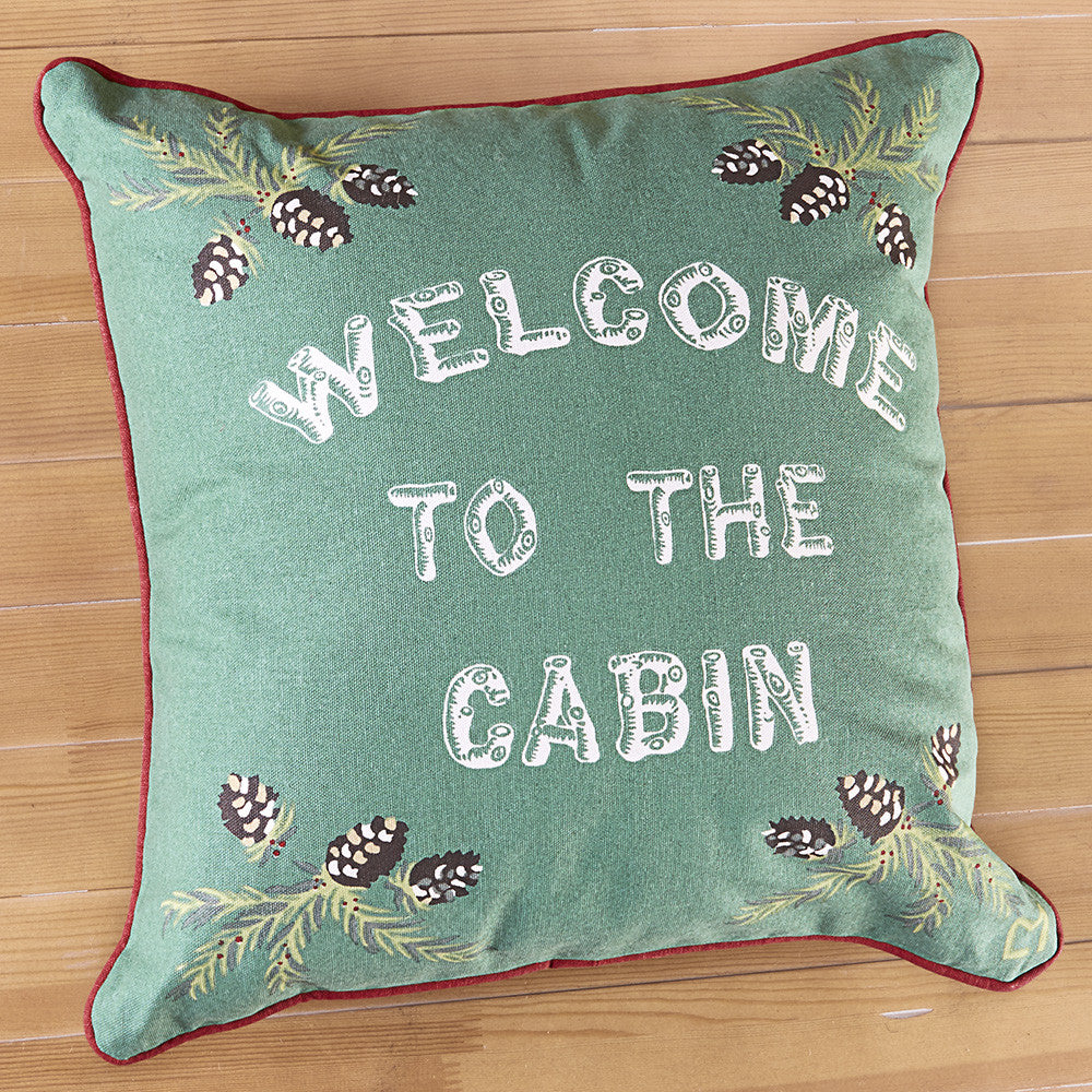 "Chandler 4 Corners 18"" Canvas Pillow, Welcome to the Cabin"