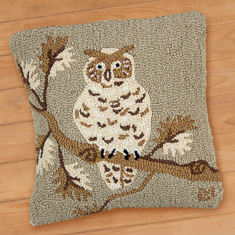 "Khaki Owl 18"" Hooked Pillow from Chandler 4 Corners"