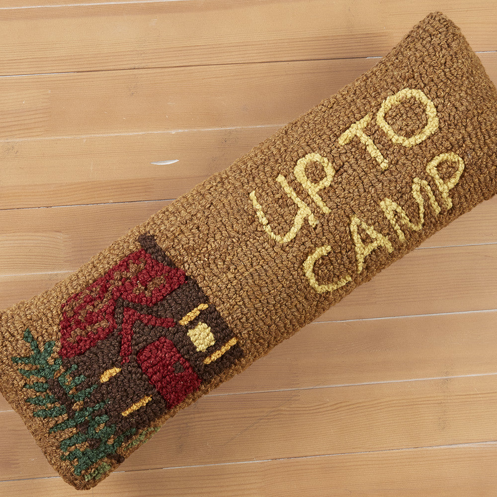 "Chandler 4 Corners 8"" x 24"" Hooked Pillow, Up To Camp"
