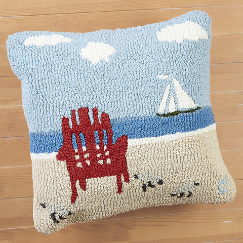 "Chandler 4 Corners 18"" Hooked Pillow, Evening Sail"