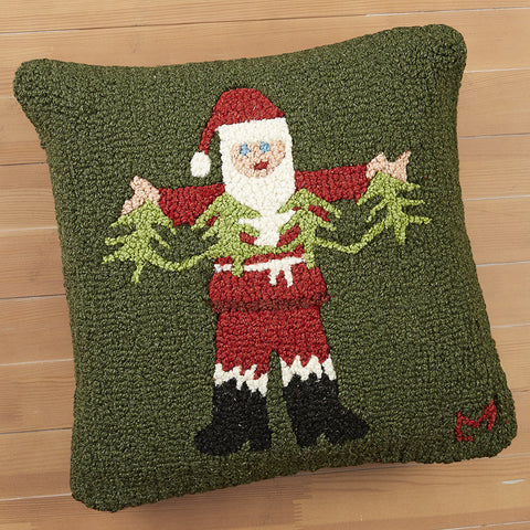 "Chandler 4 Corners 18"" Hooked Pillow, Garland Santa"
