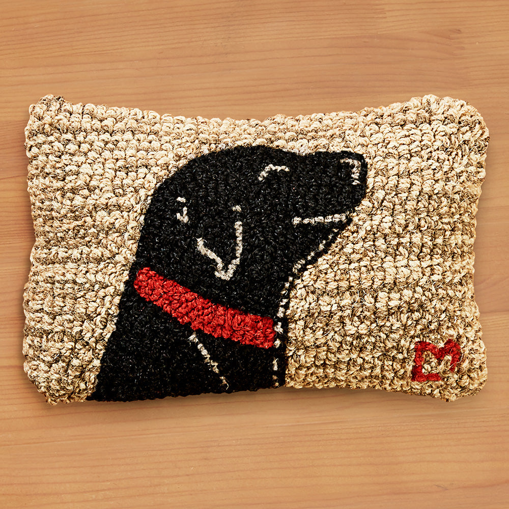 "Chandler 4 Corners 8"" x 12"" Hooked Pillow, Begging Black Lab"