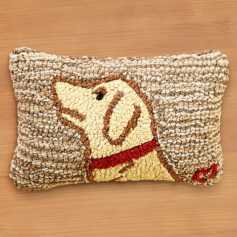 "Chandler 4 Corners 8"" x 12"" Hooked Pillow, Begging Yellow Lab"
