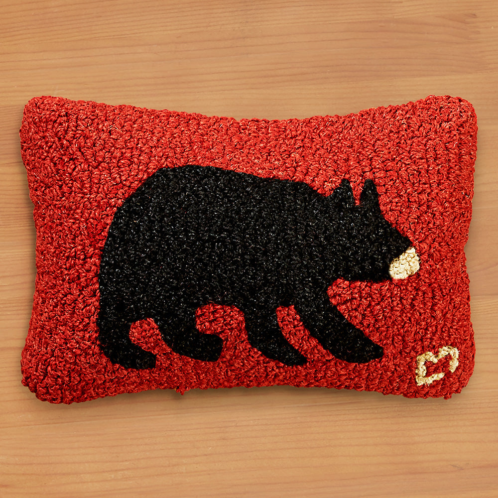"Chandler 4 Corners 8"" x 12"" Hooked Pillow, Black Bear"