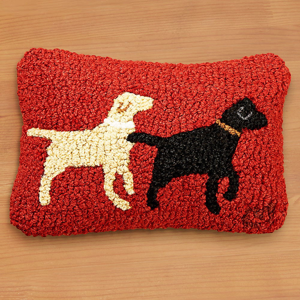 "Chandler 4 Corners 8"" x 12"" Hooked Pillow, Lab Buddies"
