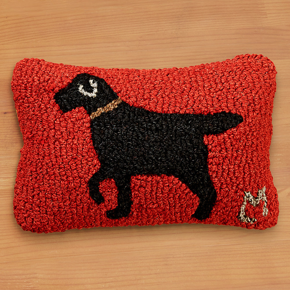 "Chandler 4 Corners 8"" x 12"" Hooked Pillow, Walking Dog Black"