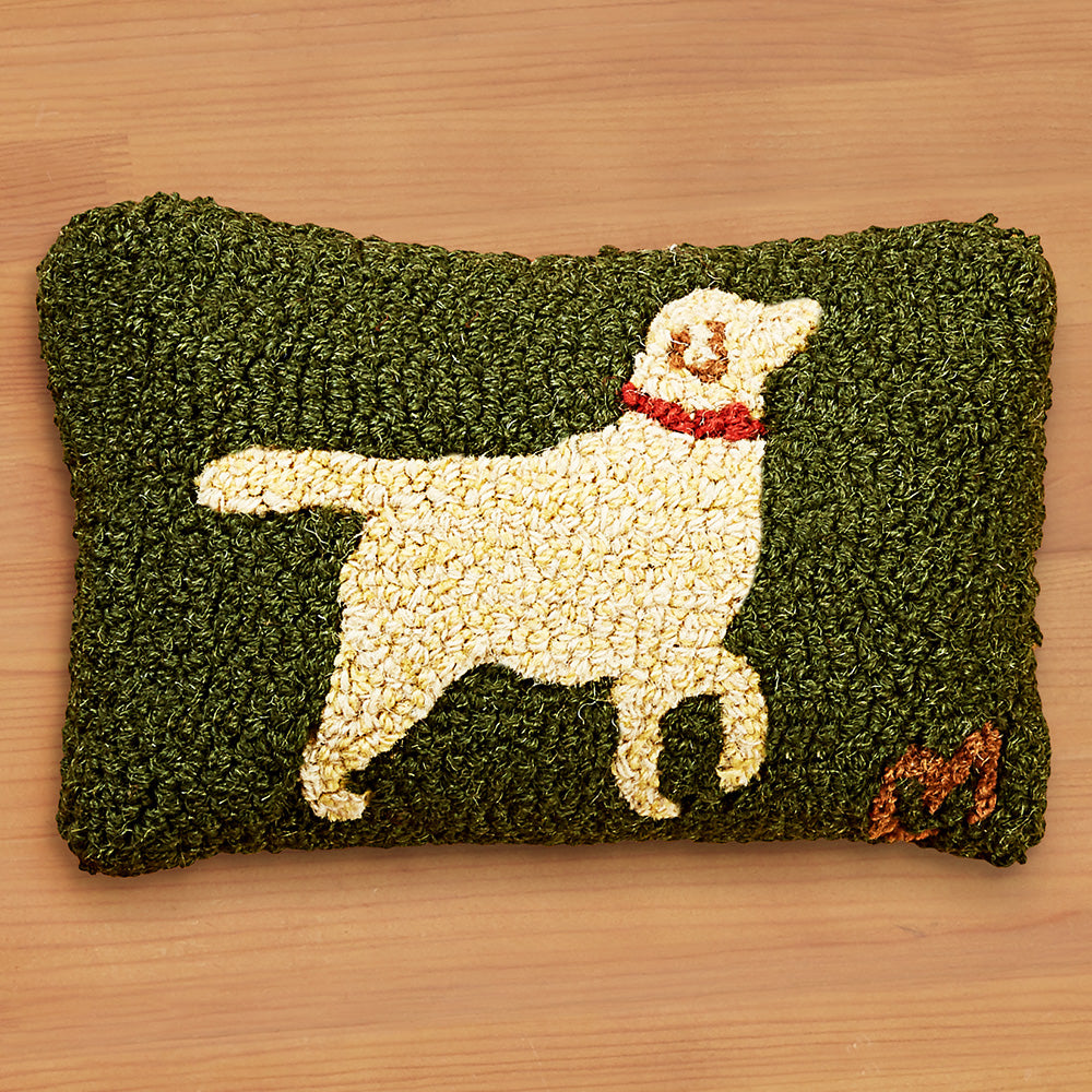 "Chandler 4 Corners 8"" x 12"" Hooked Pillow, Walking Dog Yellow"