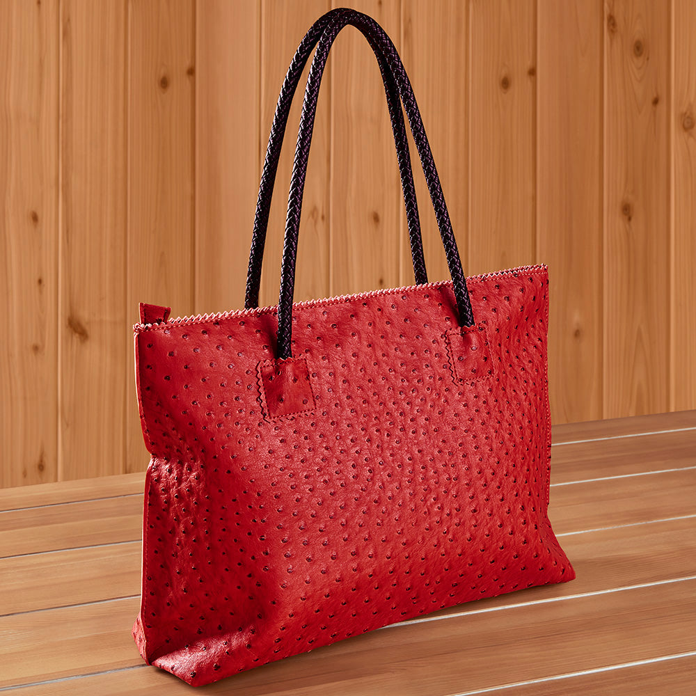 22 Tote Vegan Ostrich Leather Zip Tote Handbag