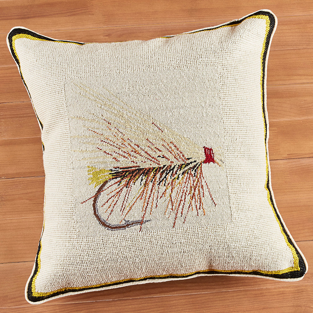 "16"" Needlepoint Pillow, Caddis Fly"