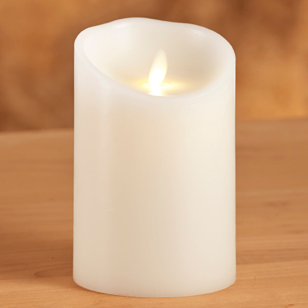 Luminara Unscented Flameless Pillar Candle, Ivory
