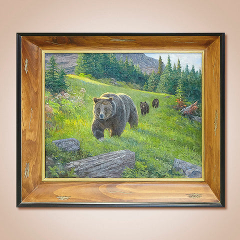 """Glacier Grizzly Family"" Original Oil Painting by James Reid"