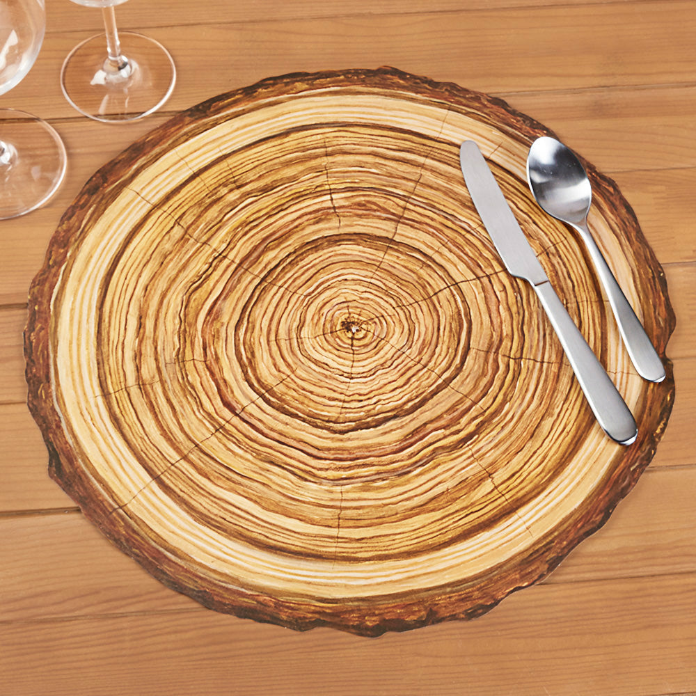 Hester & Cook Die Cut Paper Placemats, Wood Slice