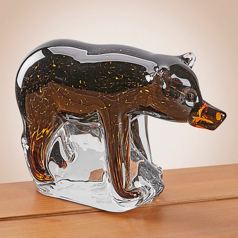 Glass Black Bear Figurine
