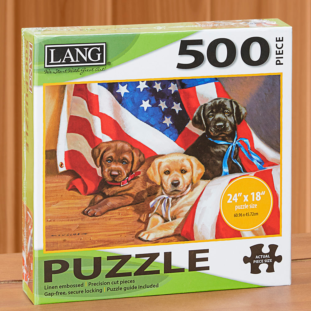 "500-Piece Fine Art Jigsaw Puzzle, ""American Puppy"" by Jim Lamb"