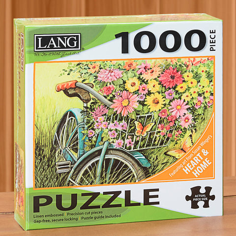 "1000-Piece Fine Art Jigsaw Puzzle, ""Bicycle Bouquet"" by Susan Winget"