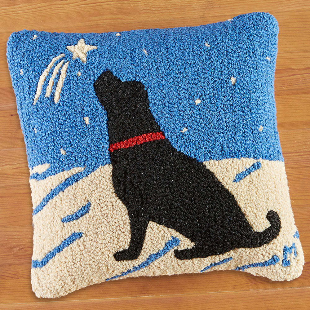 "Chandler 4 Corners 18"" Hooked Pillow, Shooting Star"
