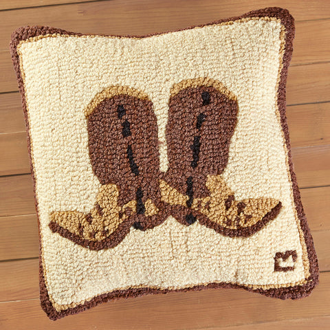 "Chandler 4 Corners 18"" Hooked Pillow, Cowboy Boots"
