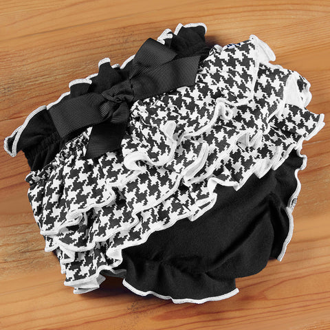 Cotton Houndstooth Ruffled Baby Bloomer
