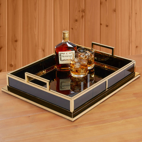 Black and Gold Barcelona Tray by Jonathan Adler